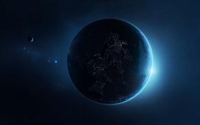 Picture stars, lights, planet, satellite, civilization