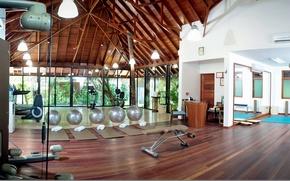 Picture design, style, interior, the gym, simulators