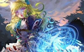 Picture girl, magic, anime, art