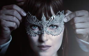 Picture cinema, wallpaper, girl, woman, eyes, blue eyes, movie, face, hand, film, mask, Dakota Johnson, Fifty …
