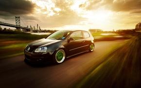 Picture bridge, black, volkswagen, Golf, golf, Black, Volkswagen, stance, MK5, in motion