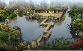 Picture forest, fish, bridge, river, stones, home