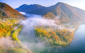 Picture autumn, forest, trees, mountains, fog, river, Japan, Okayama