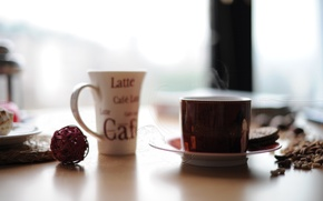 Picture table, coffee, mugs, smoke