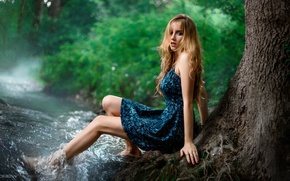 Picture forest, look, face, stream, green, sweetheart, model, portrait, dress, blonde, light, beautiful, the beauty, nature, …
