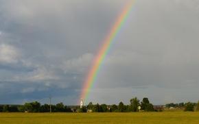 Picture field, summer, rainbow, Church
