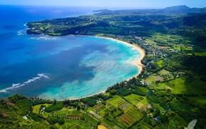 Picture beach, water, island, Marina, yachts, boats, Hawaii, Kauai, abundant vegetation, Golden sand, Bay Crescent, coral …