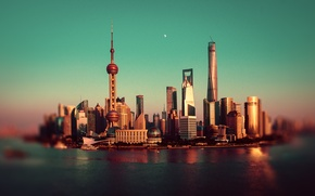 Picture river, the moon, China, Shanghai, Oriental Pearl Tower, Shanghai Tower, Shanghai World Financial Center, the ...