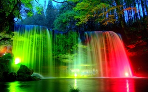 Picture trees, lights, Park, stones, colored, waterfall, the evening, backlight, lights