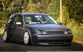 Picture volkswagen, turbo, wheels, Golf, golf, tuning, coupe, front, gti, face, germany, low, r32, stance, mk4, …