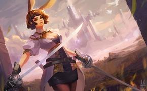 Wallpaper girl, the city, weapons, sword, art, ears
