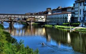 Picture the sky, bridge, river, home, Italy, Florence, The Ponte Vecchio, Arno