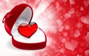 Wallpaper Valentine's Day, heart, glare, gift, heart, box, hearts