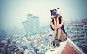 Picture roof, girl, book