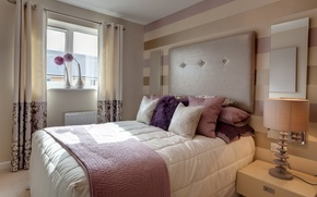 Picture design, style, room, pink, bed, interior, pillow, apartment, white.