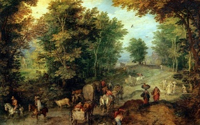 Picture picture, Jan Brueghel the elder, Landscape with Ford
