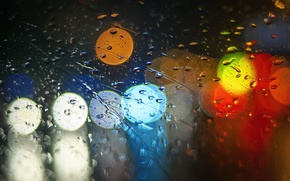 Wallpaper lights, bokeh, glass, colorful, light, rain, drops