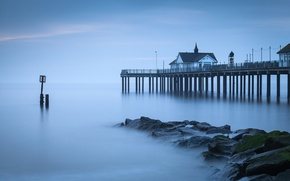 Picture sea, stones, shore, England, pierce, UK, calm
