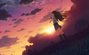 Picture the sky, girl, the sun, clouds, joy, sunset, nature, anime, art, form, schoolgirl, mitsuki, 3gatsu