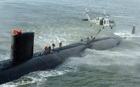 Wallpaper helicopter, submarine, wave, NATO, ruffle, people