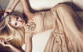 Picture sofa, lies, look, hands, manicure, blonde, flower, girl, dress