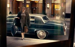 Picture machine, model, actress, Olga Kurylenko, car