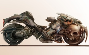 Picture background, fiction, skull, art, wheel, motorcycle