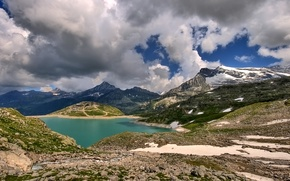 Picture the sky, clouds, snow, mountains, lake