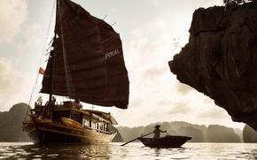 Picture Vietnam, boat, Bay, junk