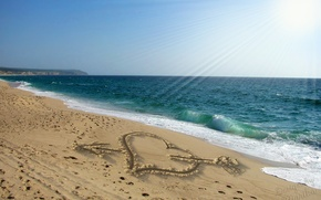 Picture sand, beach, love, romance, heart, figure, love, sunshine, beach, sea, heart, sand, design by Marika