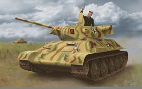 Picture art, painting, tank, ww2, captured tank, T-34-747 STZ Mod. 1942
