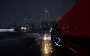 Picture drops, night, rain, GT500, wheel, ford, drives, night, The Crew
