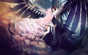 Wallpaper feathers, wings, art, girl madoka, mahou shoujo madoka magica movie, akuma homura, anime, homura akemi, ...