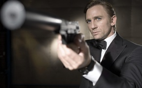 Wallpaper 007, Daniel Craig, James Bond, gun, weapons