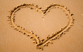 Wallpaper heart, mood, heart, nature, written, sand