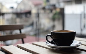 Picture table, coffee, Cup, balcony, saucer, bokeh, the city.