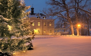 Picture winter, decoration, holiday, Villa, tree, Christmas, New year