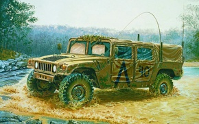 Picture car, art, jeep, painting, US M998 Command Vehicle