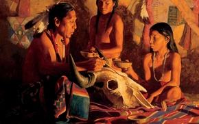Picture skull, art, Indian, shaman, David Man, Buffalo Shaman