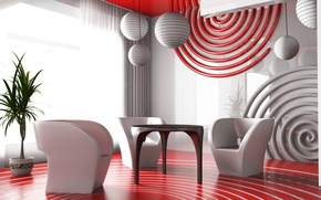 Wallpaper chairs, table, Red, interior