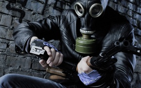 Picture weapons, brick, jacket, gas mask, shop, clip, filter, AK 74