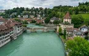 Wallpaper Bern, Switzerland, bridge, Aare River, Switzerland, Aare river, building, river, Bern