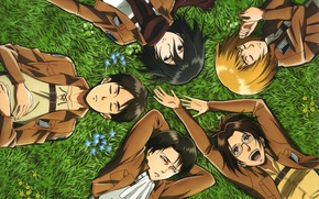 Picture grass, stay, form, emblem, friends, art, levi, shingeki no kyojin, mikasa ackerman, armin arlert, the …