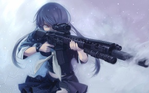 Picture cold, winter, girl, snow, weapons, form, art, terabyte