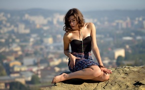 Picture girl, stone, view, height, dal