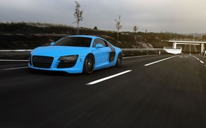 Picture road, the sky, clouds, Audi, markup, blue, speed, Audi, road, blue, speed