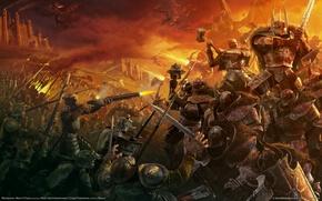 Wallpaper WarHammer, mark of chaos dragons, battle, heroes