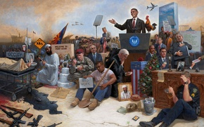 Picture people, war, America, USA, Barack Obama, Jon McNaughton, Obamanation