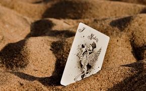 Picture sand, macro, Joker, map, wings, skeleton