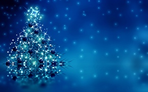 Picture decoration, tree, New Year, Christmas, Christmas, blue, tree, New Year, decoration